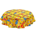 Round Oilcloth Tablecloth in Sugarcane Yellow