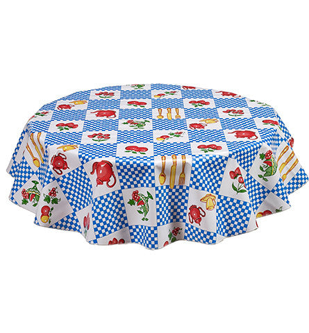 Round Teapot Blue Oilcloth Tablecloths
