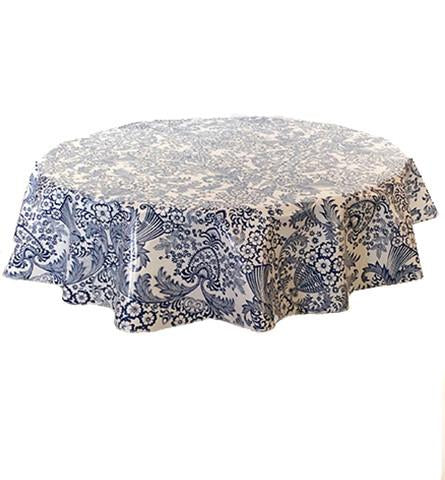 "Slightly Imperfect 68"" Round Oilcloth Tablecloth in Toile Blue"