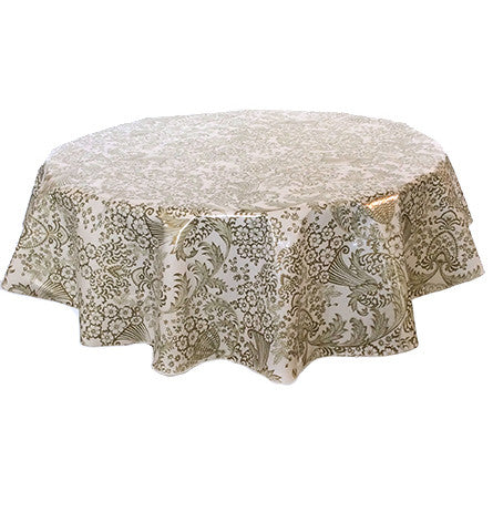 Slightly Imperfect Round Oilcloth Tablecloth in Toile Gold