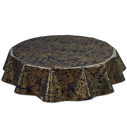 Round Oilcloth Tablecloth in Toile Gold on Black