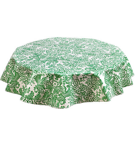 Round Oilcloth Tablecloth in Toile Green