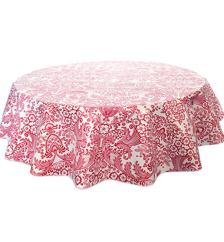 Round Oilcloth Tablecloth in Toile Red