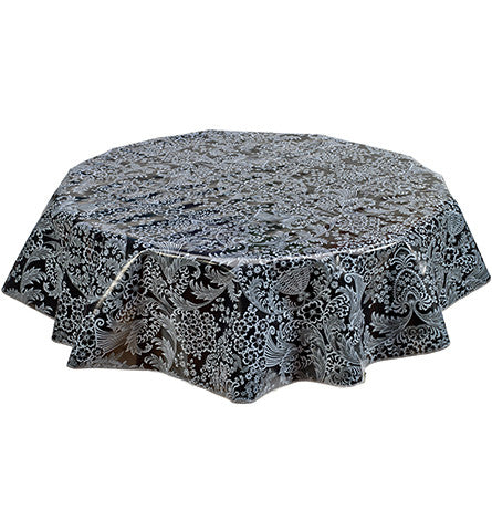 Round Oilcloth Tablecloth in Toile White on Black