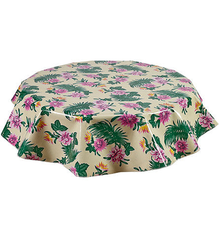 Freckled Sage Round Oilcloth Tablecloth Tropical Flower Yellow