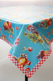 Retro light blue oilcloth tablecloth
