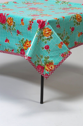 Freckled Sage Oilcloth Tablecloth Rose and Grid Aqua