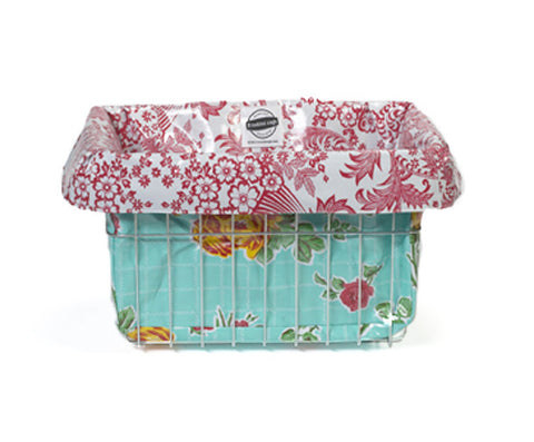 Freckled Sage Oilcloth Bike Basket Liner Rose and Grid Aqua