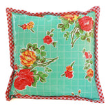 Freckled Sage Oilcloth Pillow Rose and Grid Aqua