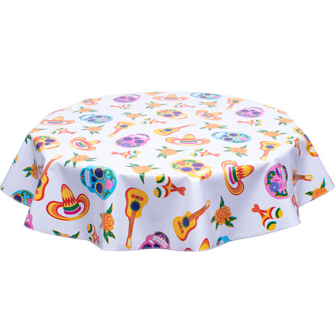 Round Skulls on White Oilcloth Tablecloth