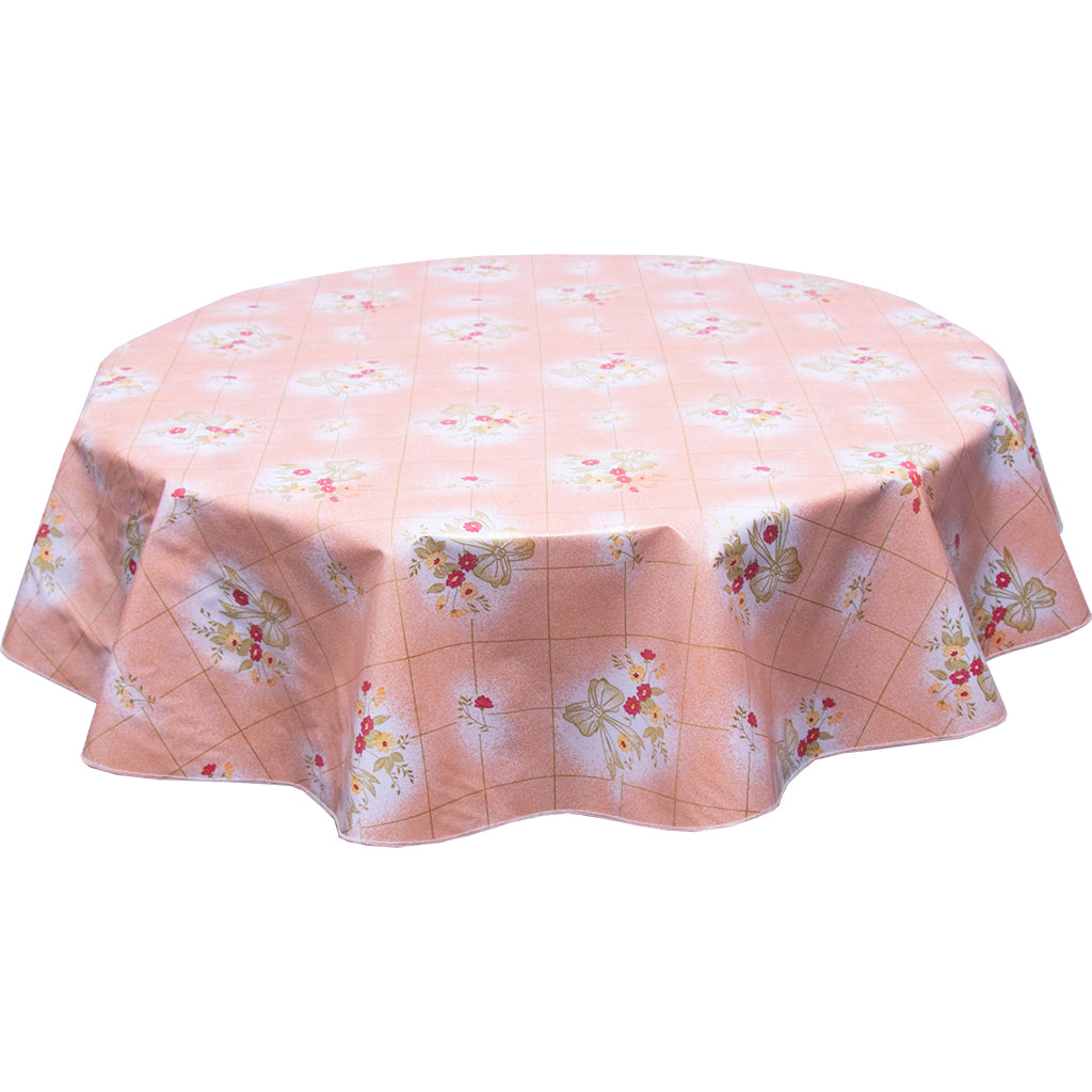 Bows and Bouquet on Salmon Round oilcloth tablecloth