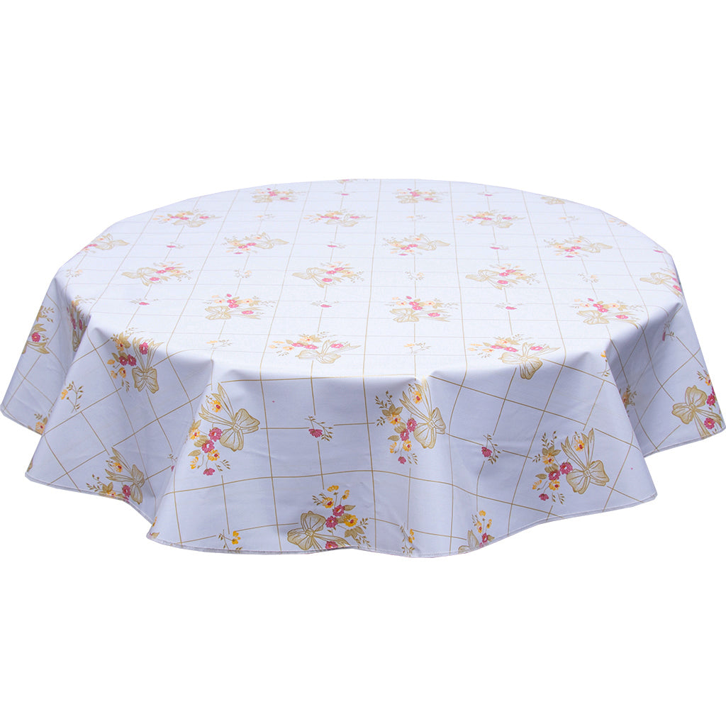 bows and bouquet Gold on White Round Oilcloth Tablecloth