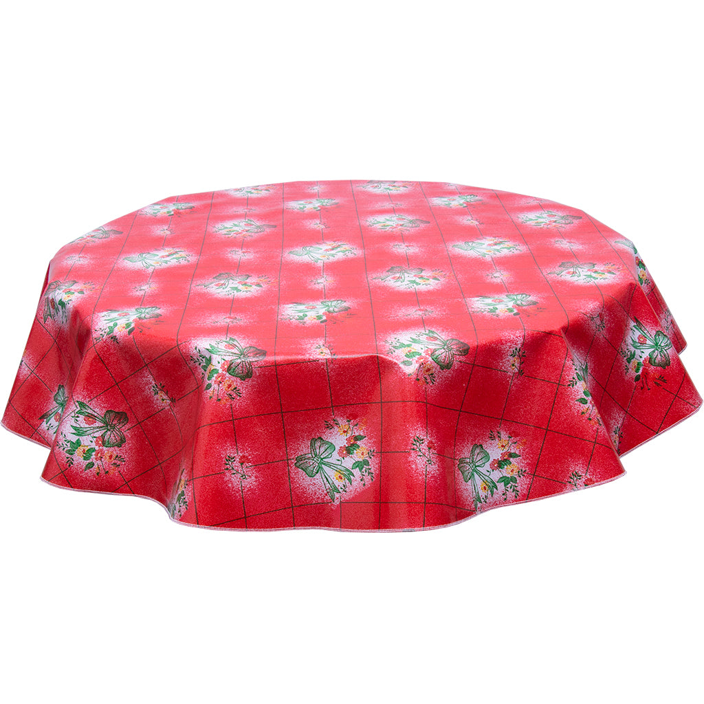 Round Oilcloth Tablecloth Bows and Bouquet on Red