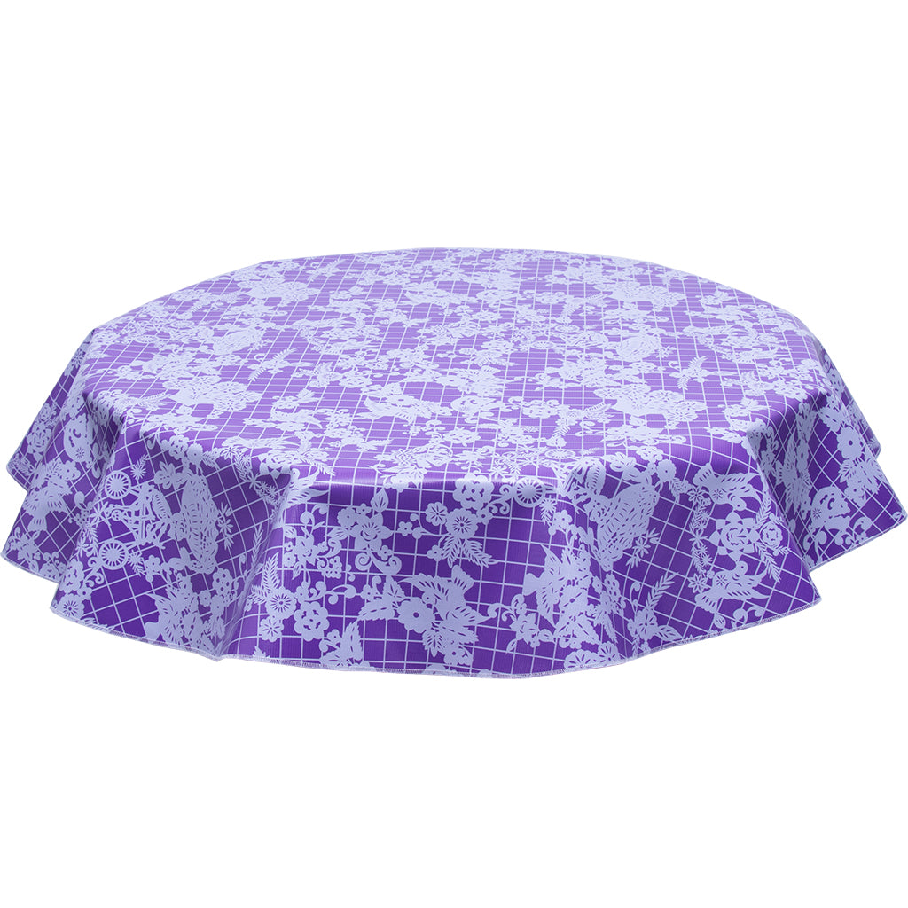 FreckledSage.com Round Day of Dead White on Purple Tablecloth