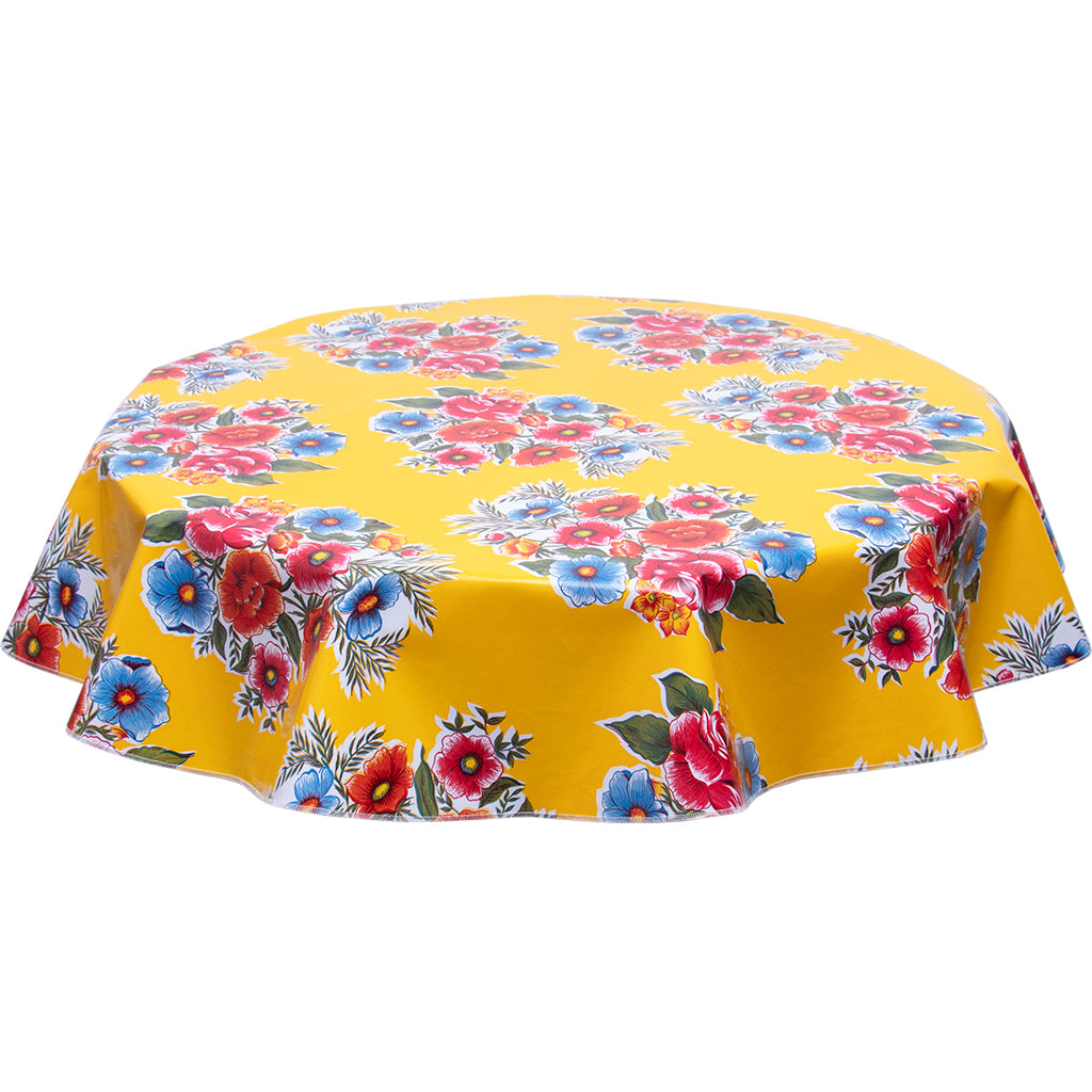 FreckledSage.com Flowers on Yellow Oilcloth Tablecloth