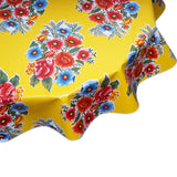FreckledSage.com Round Oilcloth Tablecloth Flowers On Yellow