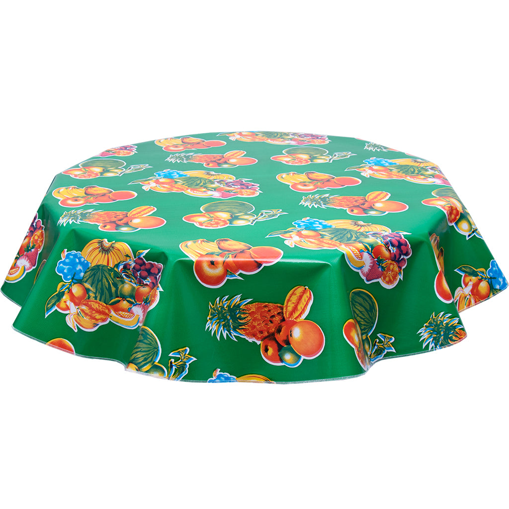 FreckledSage.com Round tropical Fruit Green tablecloth