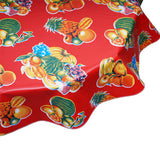 Round Oilcloth Tablecloths in Tropical Fruit Red