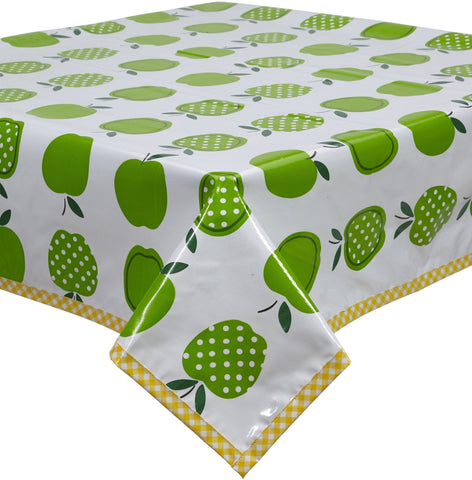 Freckled Sage Oilcloth Tablecloth Apples and Dots Green