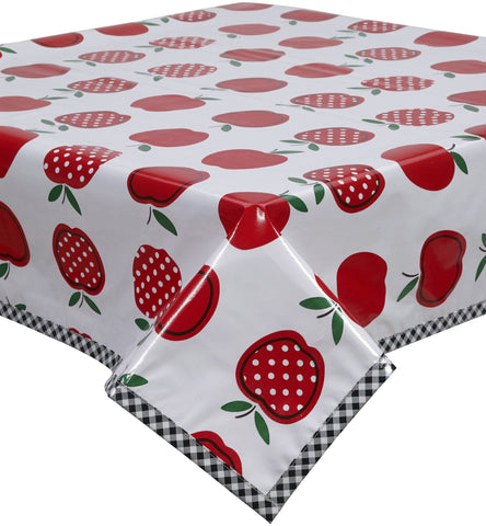 Freckled Sage Oilcloth Tablecloth Apples and Dots Red