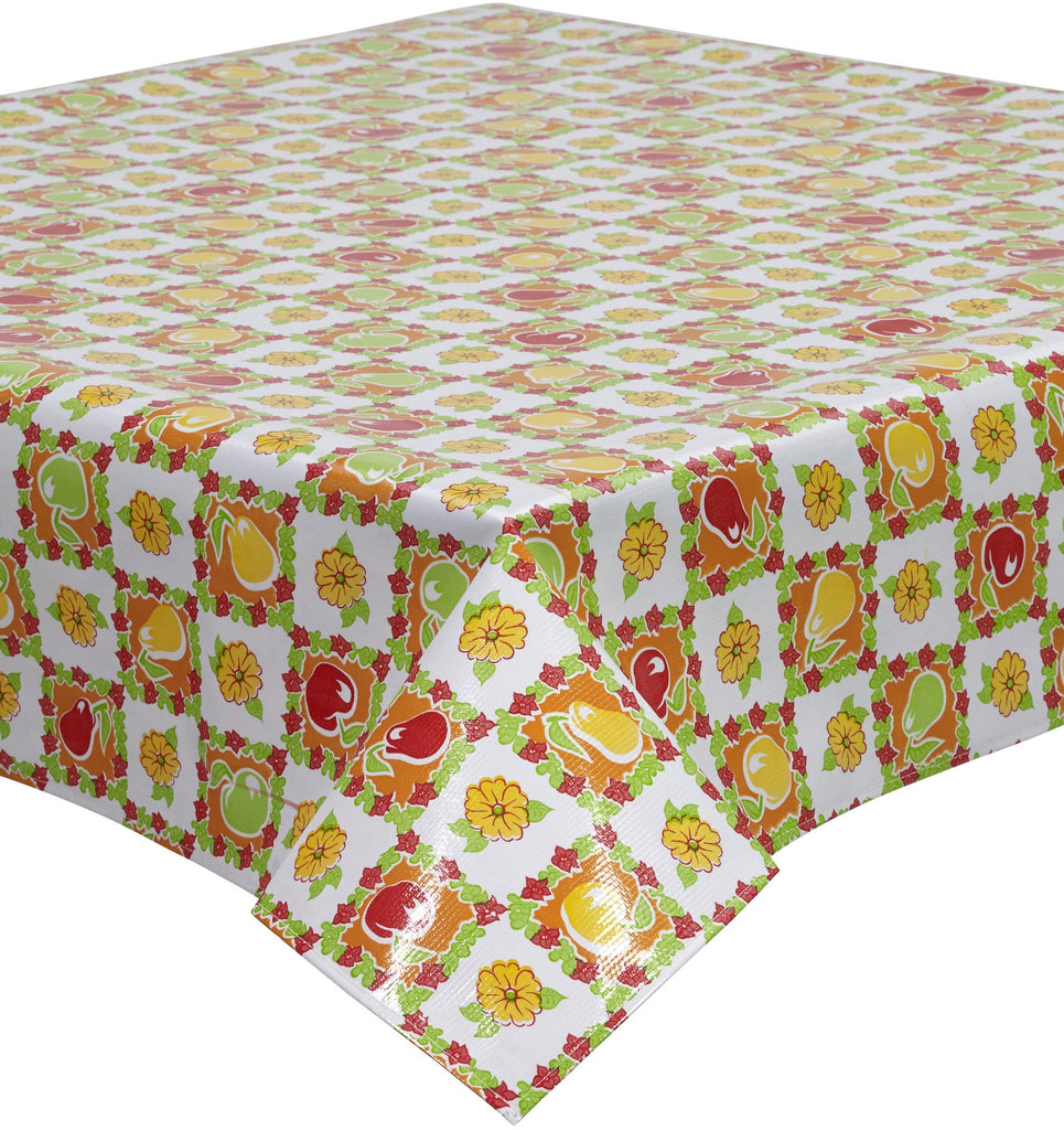 Freckled Sage Oilcloth Tablecloth Pears and Apple Orange