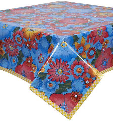 Freckled Sage Oilcloth Tablecloth Betty's Bunch Blue