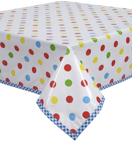 Freckled Sage Oilcloth Tablecloth Big Dot Red