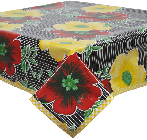 Freckled Sage Oilcloth Tablecloth Big Flowers and Stripes Black