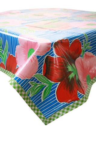 Big Flowers and Stripes Blue Oilcloth Tablecloth with Lime Gingham Trim