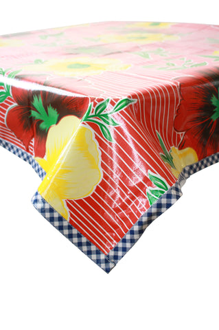 Big Flowers and Stripes Red Oilcloth Tablecloth with Navy Gingham Trim