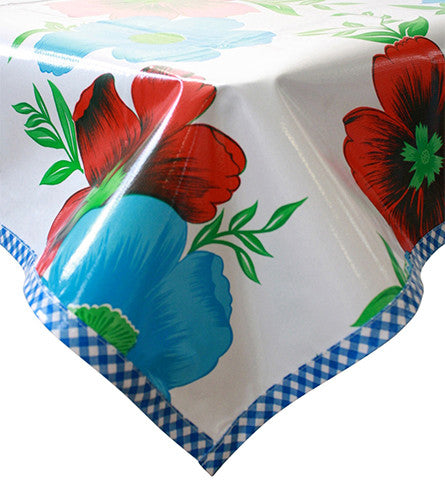 Big Flowers and Stripes White Oilcloth Tablecloth with Blue Gingham Trim