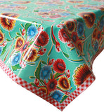 Freckled Sage Oilcloth Tablecloth Bloom Aqua with red gingham trim
