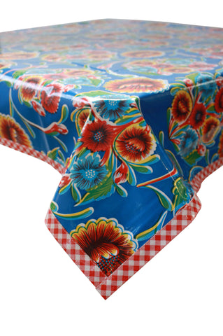 Bloom Blue Oilcloth Tablecloth with Red Gingham Trim
