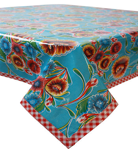 Bloom Light Blue Oilcloth Tablecloth with Red Gingham Trim