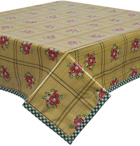 Freckled Sage Oilcloth Tablecloth Bouquet Tan