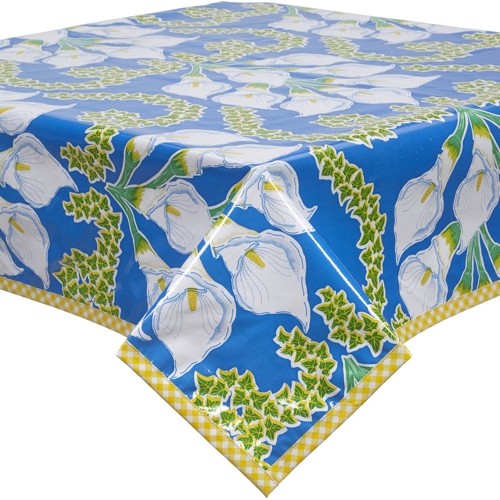 Freckled Sage Oilcloth Tablecloth Calla Lily Blue