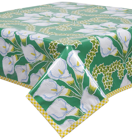 Freckled Sage Oilcloth Tablecloth Calla Lily Green