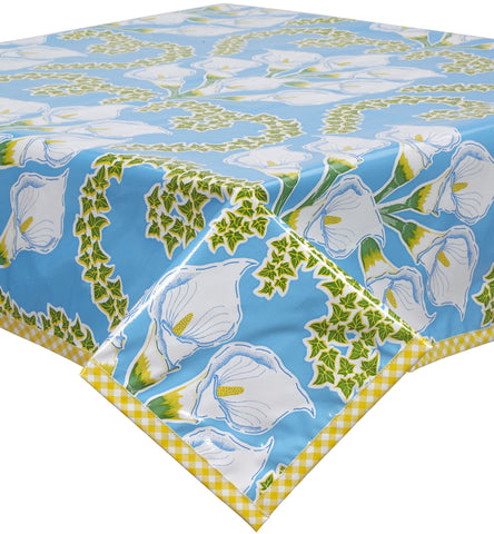 Freckled Sage Oilcloth Tablecloth Calla Lily Light Blue