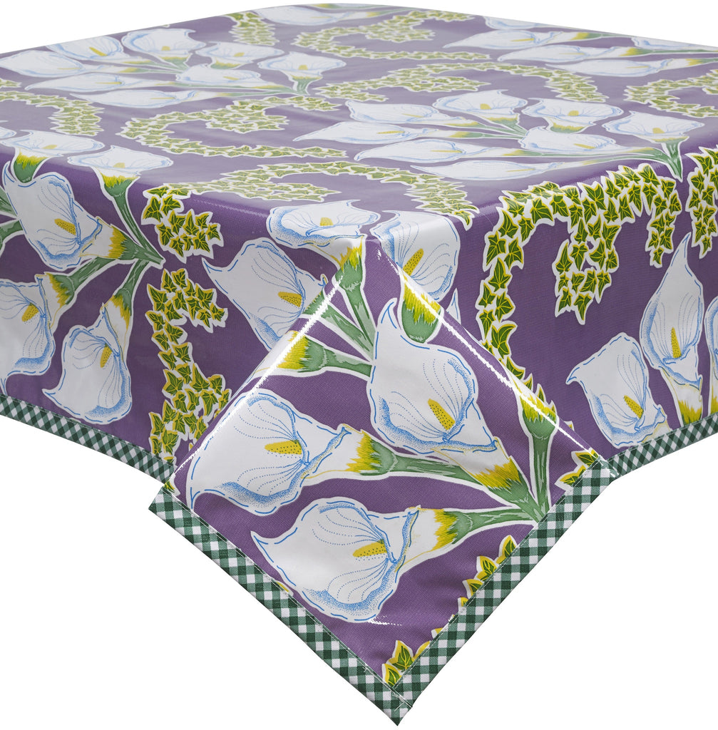 Freckled Sage Oilcloth Tablecloth Calla Lily Purple