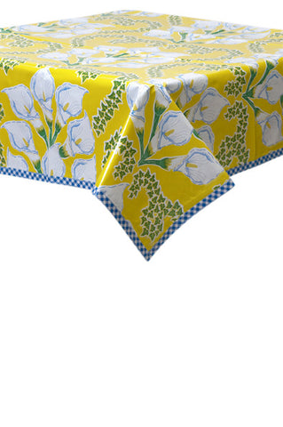 Freckled Sage Oilcloth Tablecloth Calla Lily Yellow