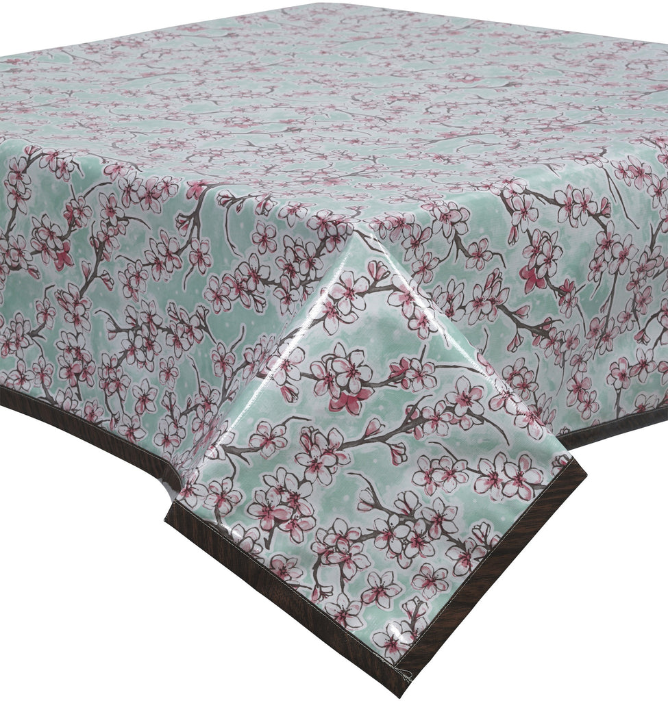 Freckled Sage Oilcloth Tablecloth Cherry Blossom Aqua