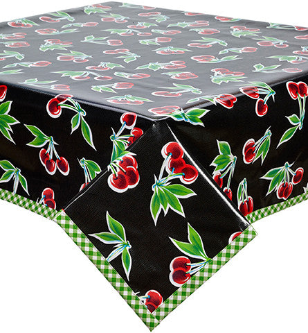 Freckled Sage Oilcloth Tablecloth Black Cherry