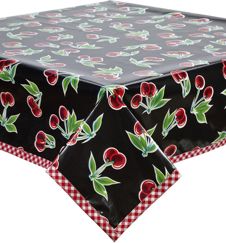 Freckled Sage Oilcloth Tablecloth Cherry Black Red Trim