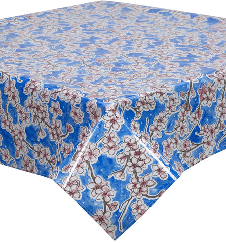 Freckled Sage Oilcloth Tablecloth Cherry Blossom Blue