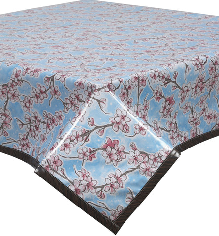 Freckled Sage Oilcloth Tablecloth Cherry Blossom Light Blue