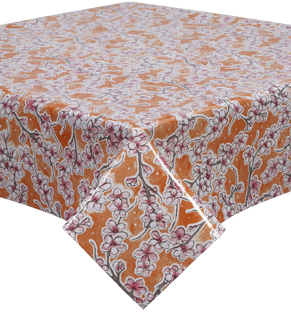Freckled Sage Oilcloth Tablecloth Cherry Blossom Orange