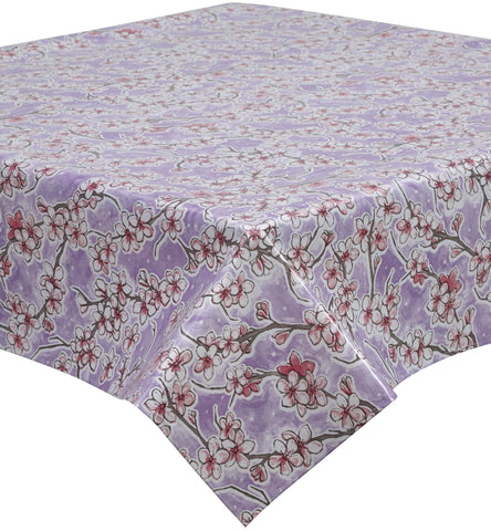 Freckled Sage Oilcloth Tablecloth Cherry Blossom Lavendar