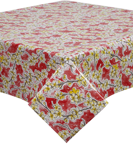 Freckled Sage Oilcloth Tablecloth Cherry Blossom Red