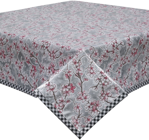 Freckled Sage Oilcloth Tablecloth Cherry Blossom Silver