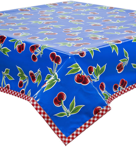 Freckled Sage Oilcloth Tablecloth Cherry Blue with Red Gingham Trim